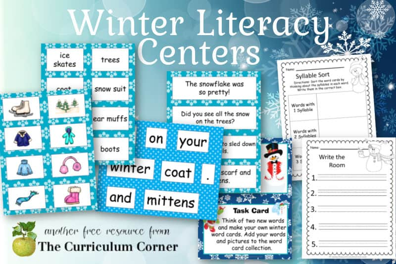 Download this free winter literacy center set to help create your winter centers. Free download from The Curriculum Corner.