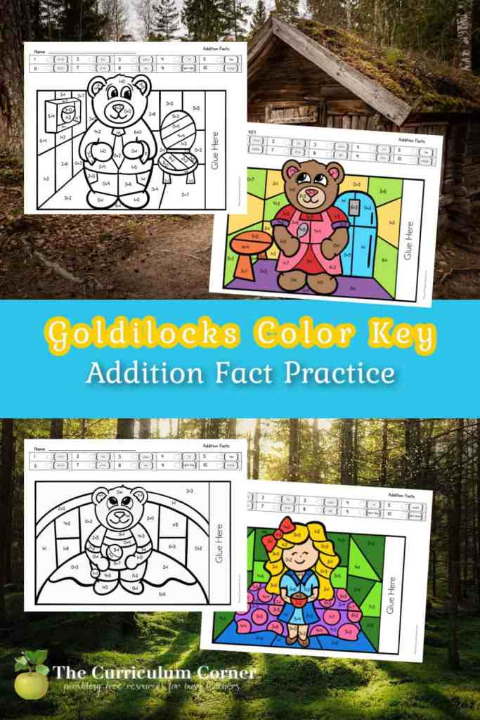 Download these free Goldilocks color key addition pages to help your children work on addition facts.