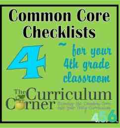 4th Grade Common Core Checklists - The Curriculum Corner 4-5-6 [ 1500 x 1500 Pixel ]