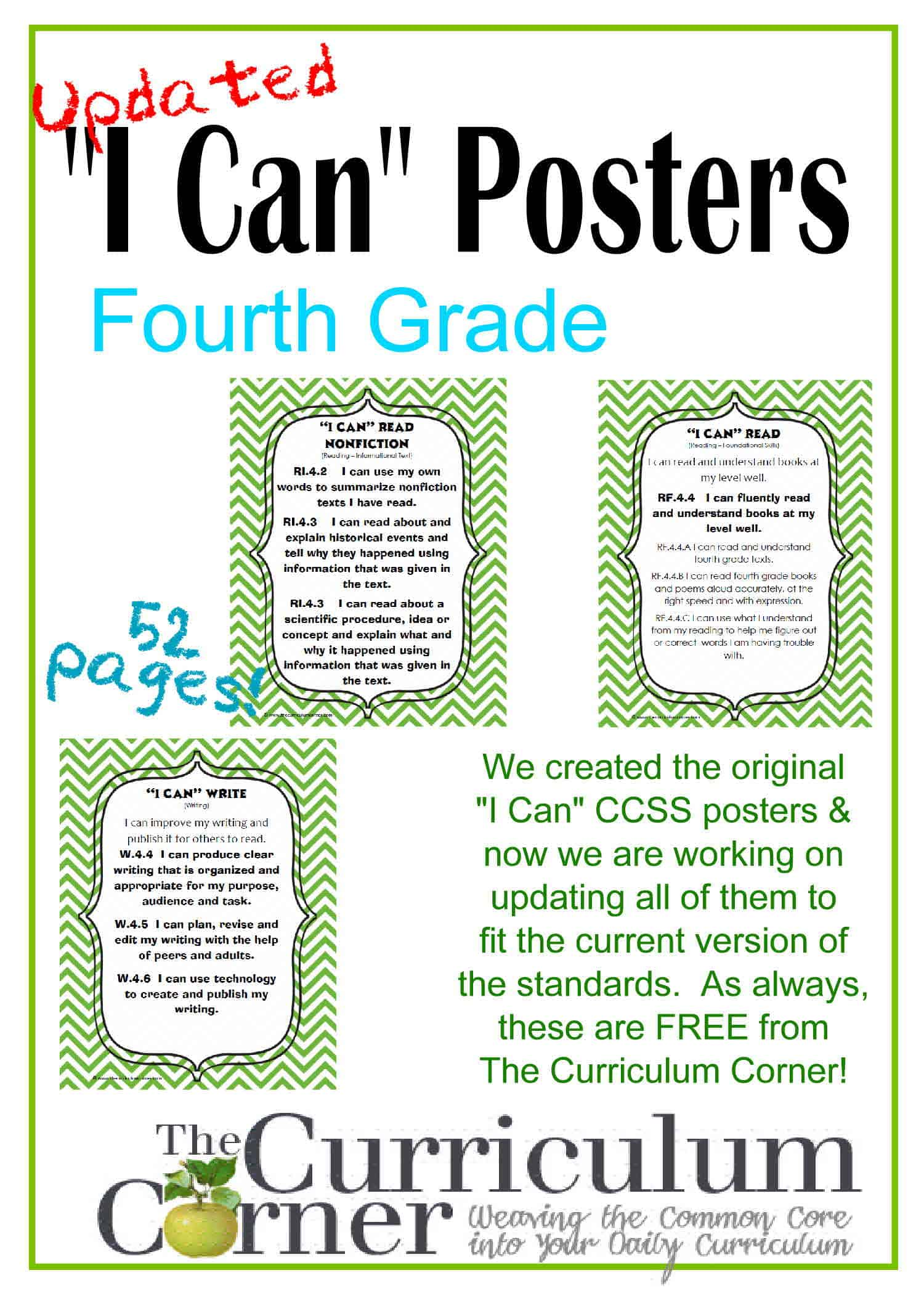 Updated 4th Grade I Can Ccss Posters In Green Chevron