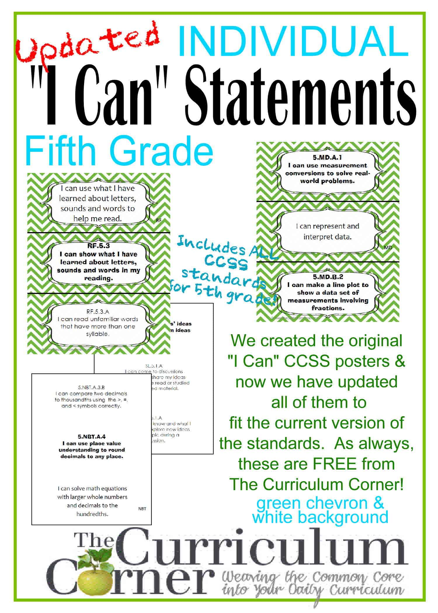 Individual I Can Statements For Ccss 5th Grade In Green