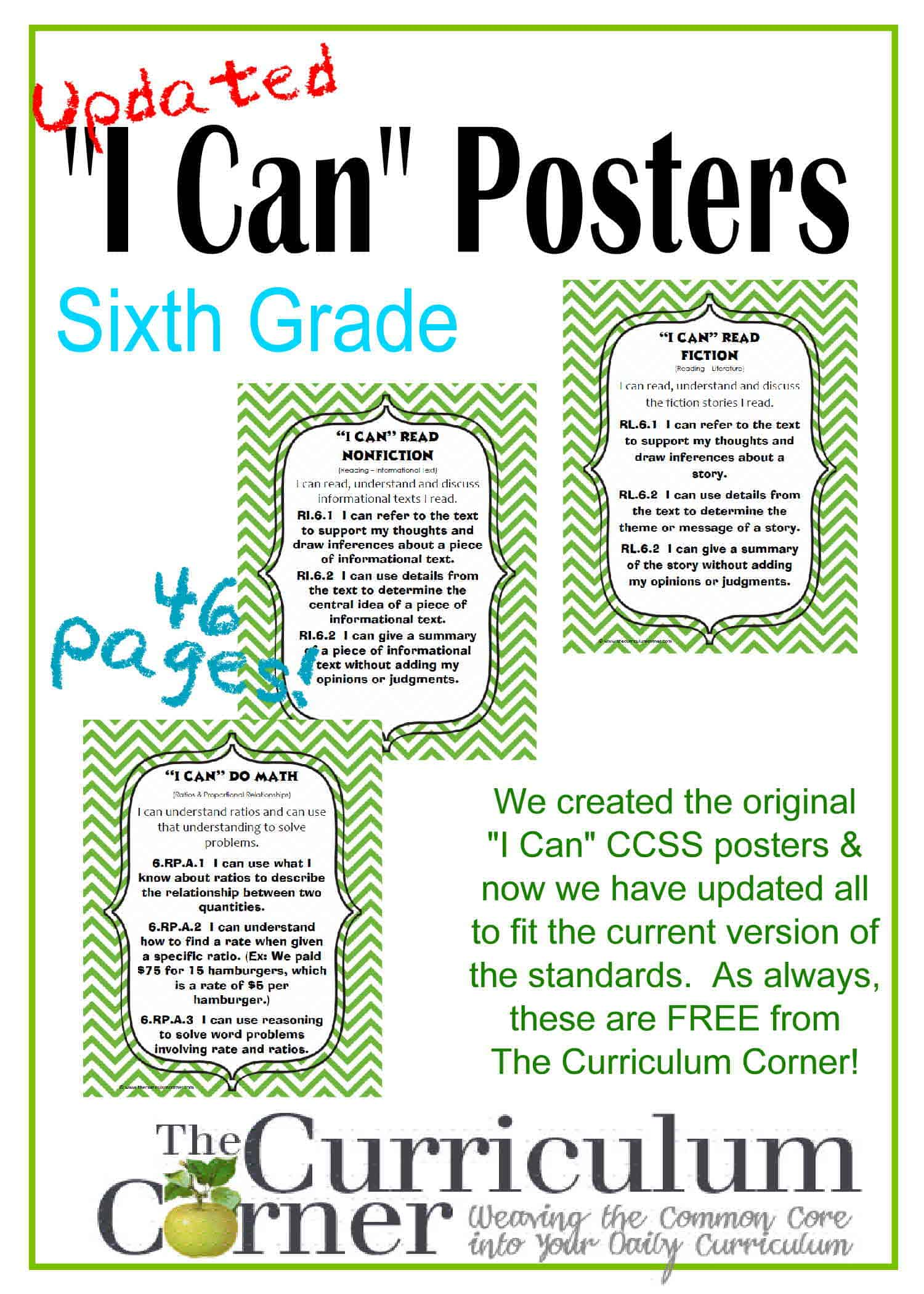 Updated 6th Grade I Can Ccss Posters In Green Chevron