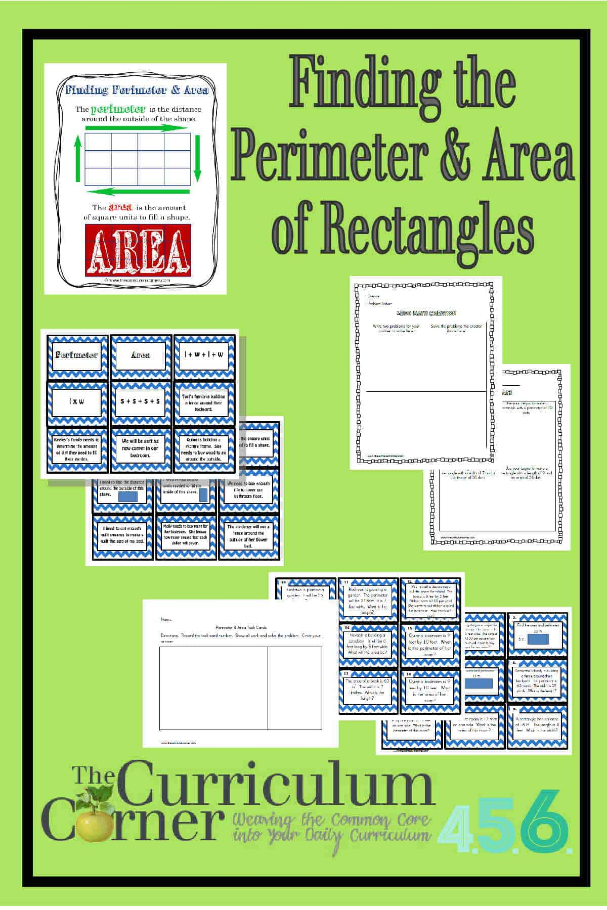 hight resolution of Perimeter and Area of Rectangles - The Curriculum Corner 4-5-6