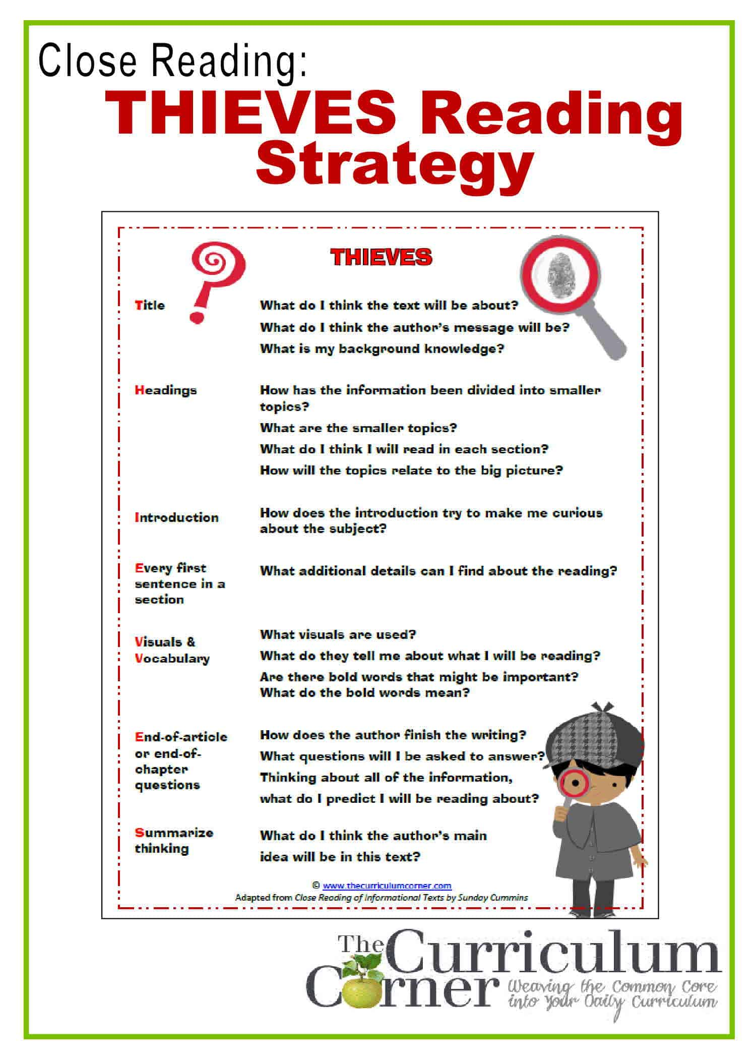 Close Reading Thieves Reading Strategy