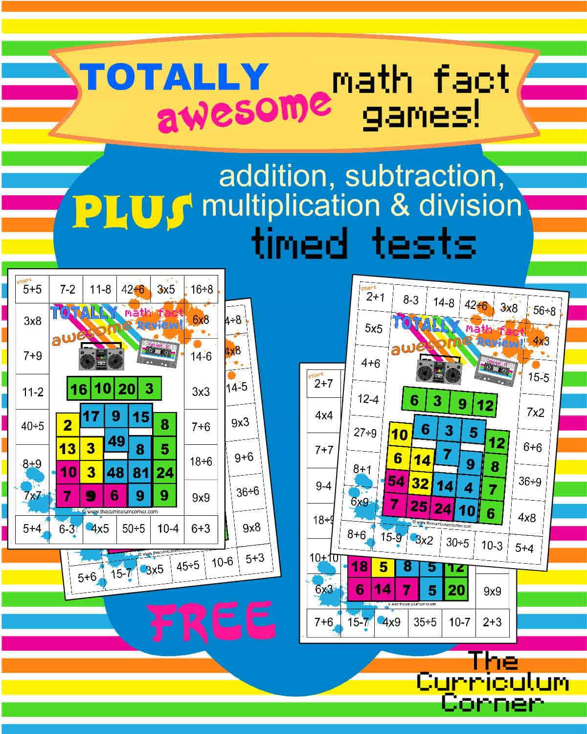 80s Themed Mixed Math Facts Games Plus X Amp Timed Tests