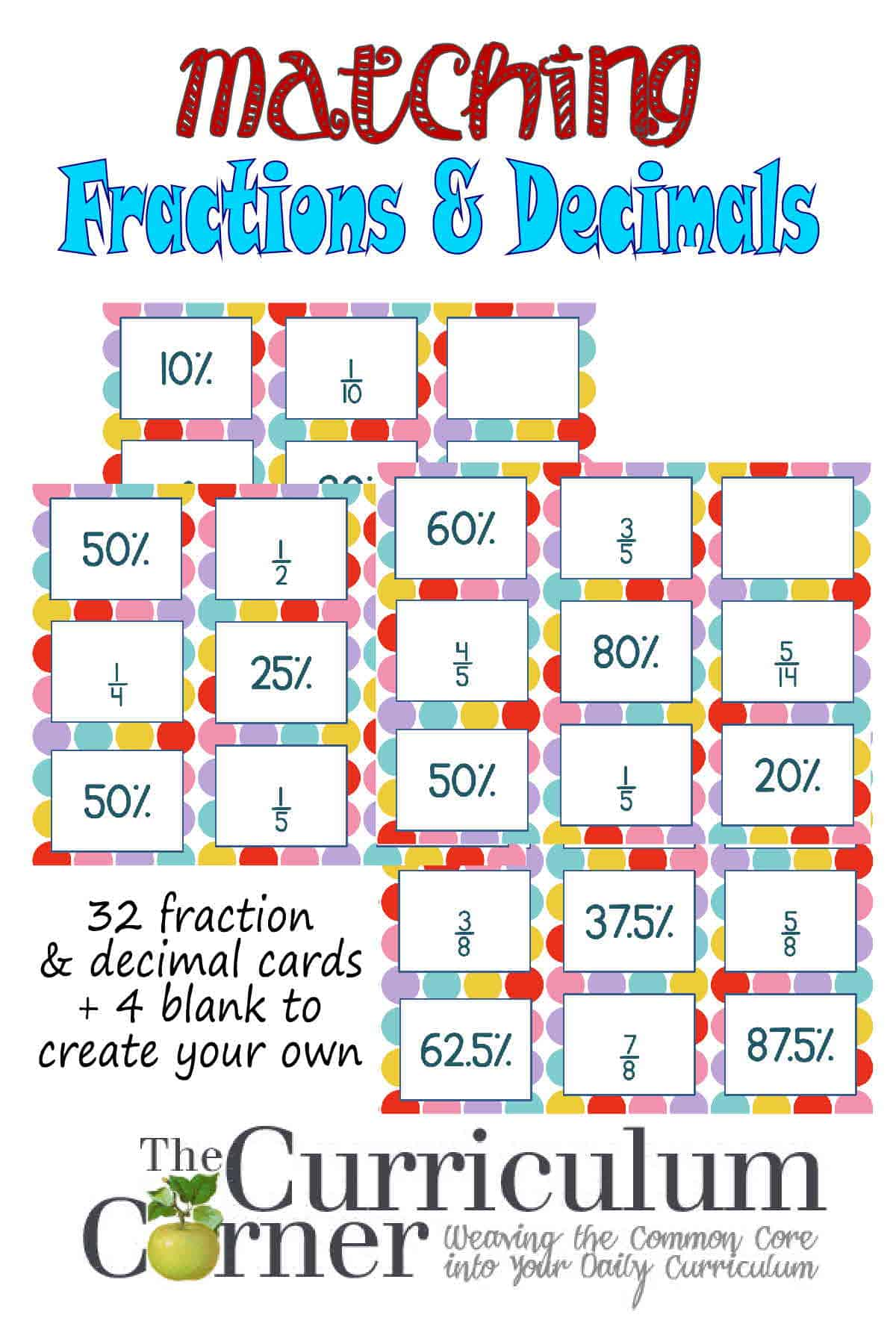 Decimals Amp Fractions Matching Cards