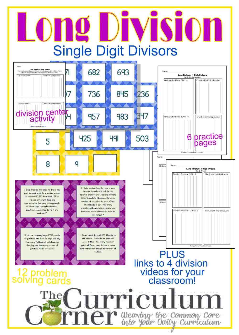 medium resolution of Long Division Resources (1-Digit Divisor) - The Curriculum Corner 4-5-6