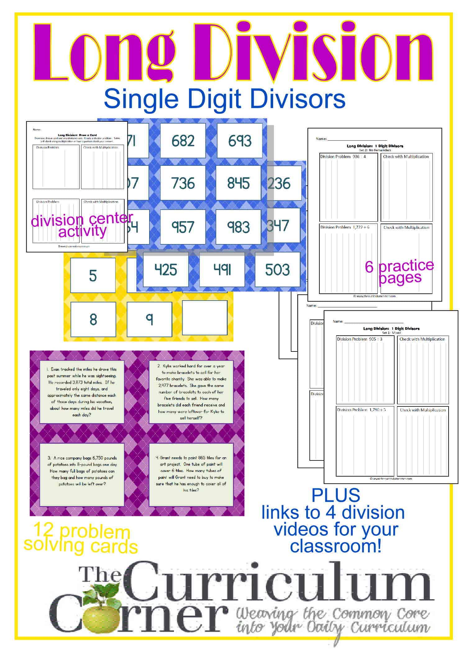 hight resolution of Long Division Resources (1-Digit Divisor) - The Curriculum Corner 4-5-6