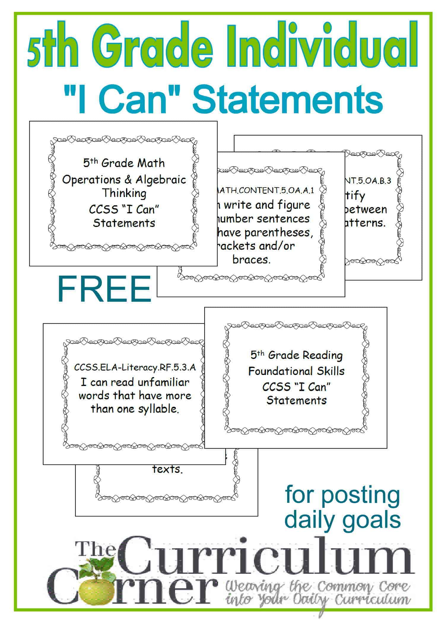 5th Grade Individual I Can Statement Posters One Per