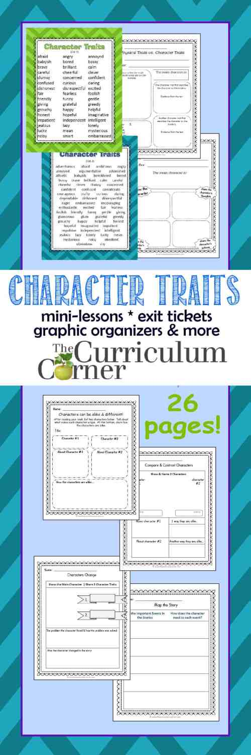 small resolution of Character Traits Resources - The Curriculum Corner 4-5-6