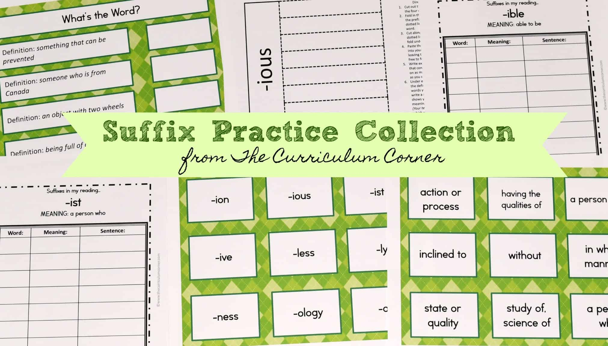 Suffix Printables Amp Resources
