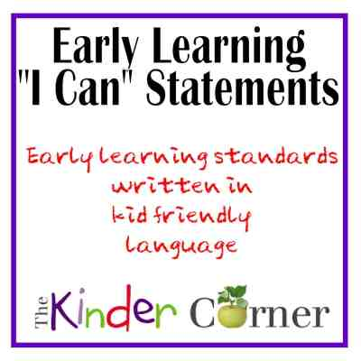 """Early Learning """"I Can"""" Statements"""