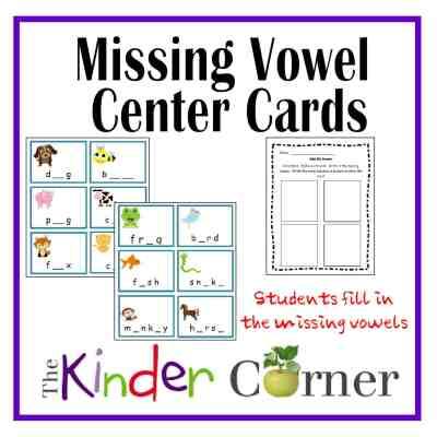 Missing Vowel Center Cards