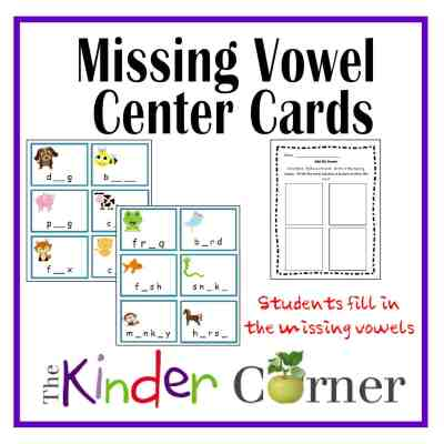 Missing Vowel Center Cards