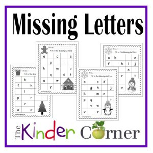 Winter Missing Letters Printables free from The Curriculum Corner