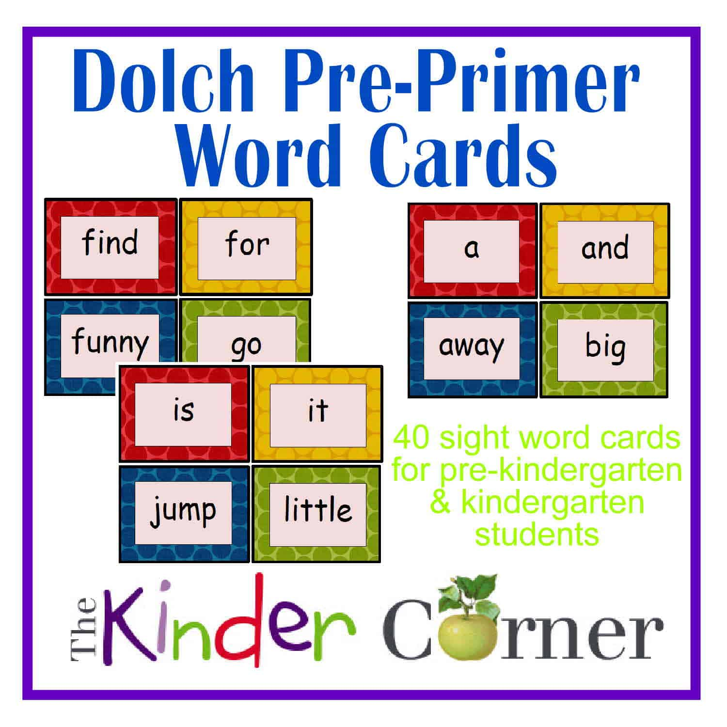 Dolch Pre Primer Word Cards