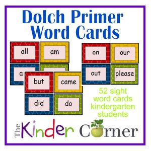 Dolch Primer Word Cards free from The Curriculum Corner