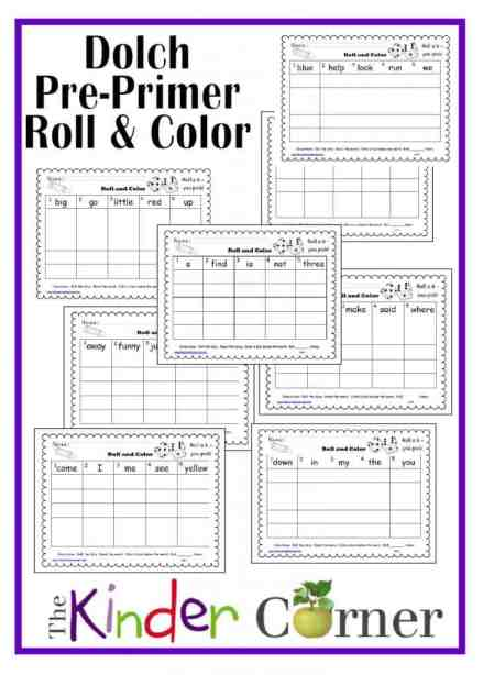 Dolch Pre-Primer Words Roll & Color Boards by The Curriculum Corner Free
