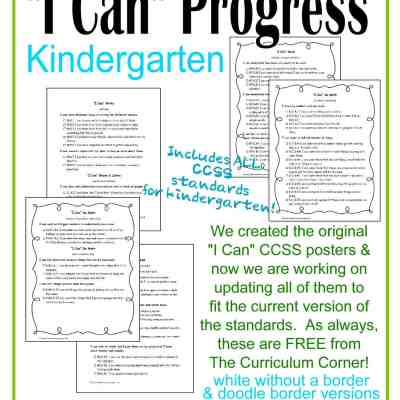 I Can Statements Kindergarten CCSS Progress Checkboxes