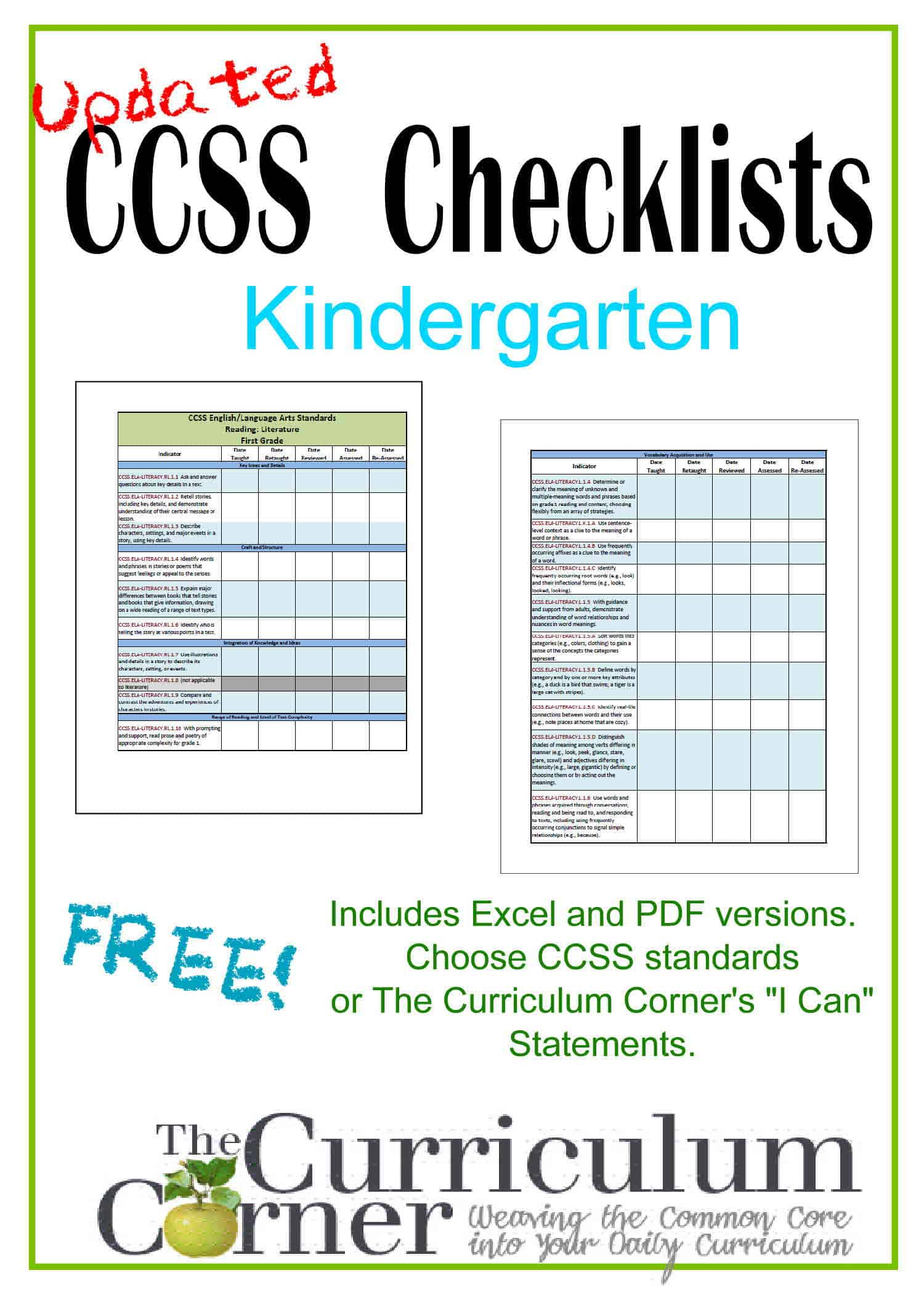Updated Kindergarten Checklists