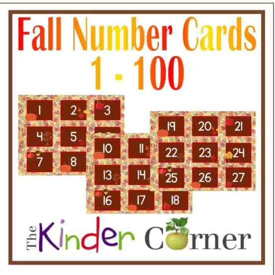 Fall Number Cards 1 though 100 FREE from The Curriculum Corner