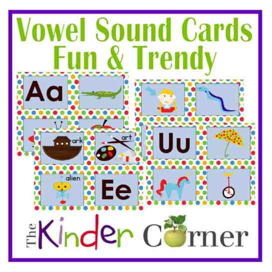 Fun & Trendy Vowel Sound Cards FREE printables from The Curriculum Corner