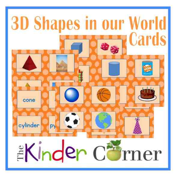 3d Shapes in Our World Sorting Cards free from The Curriculum Corner