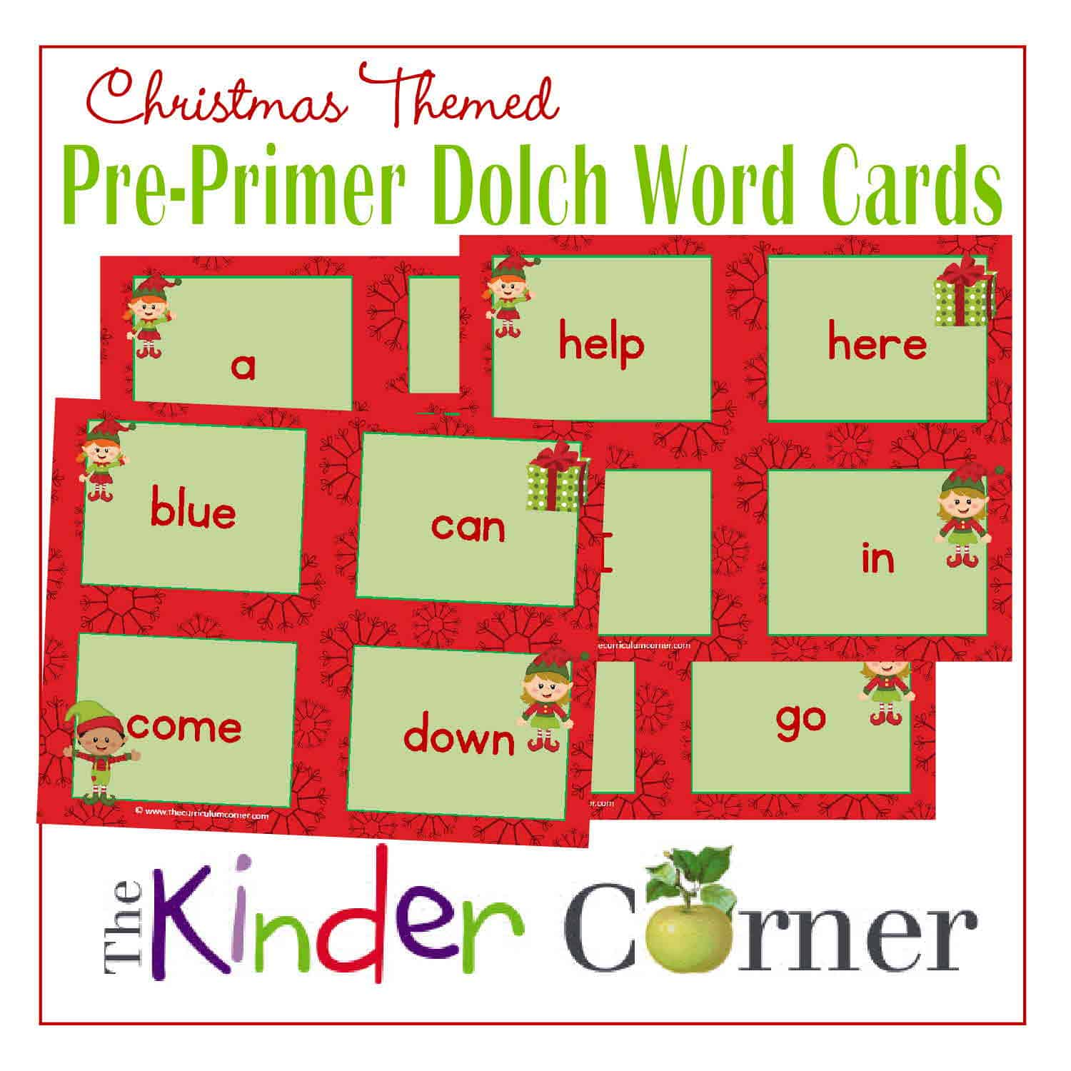 Pre Primer Christmas Elf Dolch Word Cards