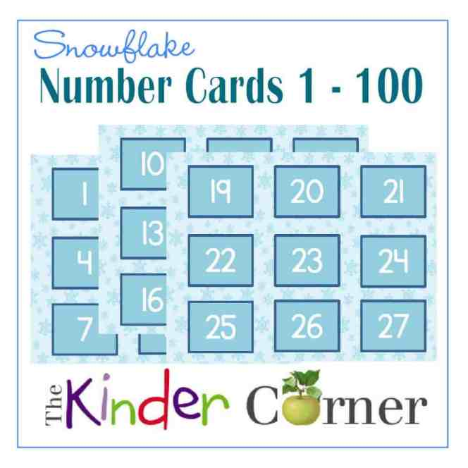 Winter Snowflake Number Cards 1 though 100 FREE from The Curriculum Corner