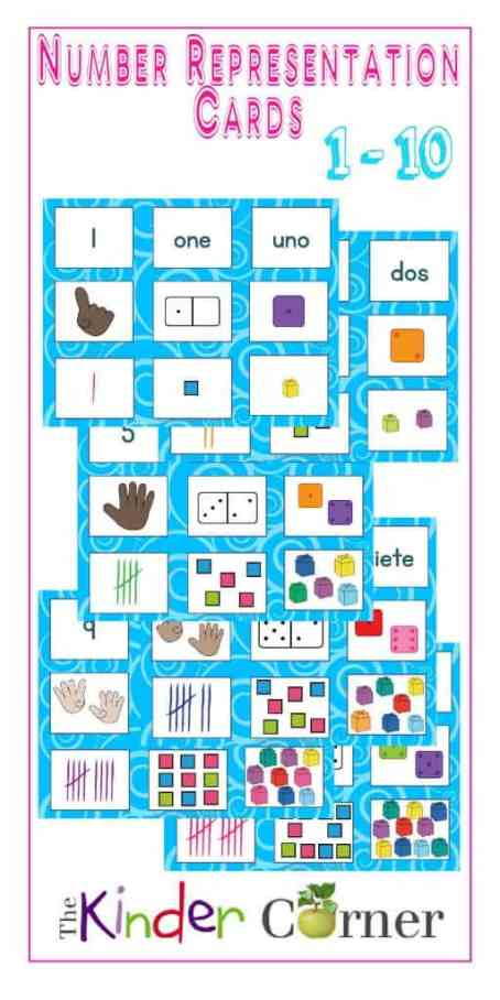 Number Representation Cards for Sorting, numbers 1 - 10 | Free from The Curriculum Corner | math center | kindergarten | pre- kindergarten | English | Spanish | ELL