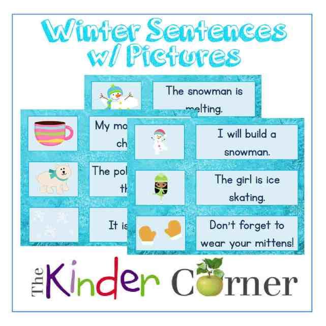 Winter Sentences w/ Picture Clues for Early Readers | FREE from The Curriculum Corner | literacy centers