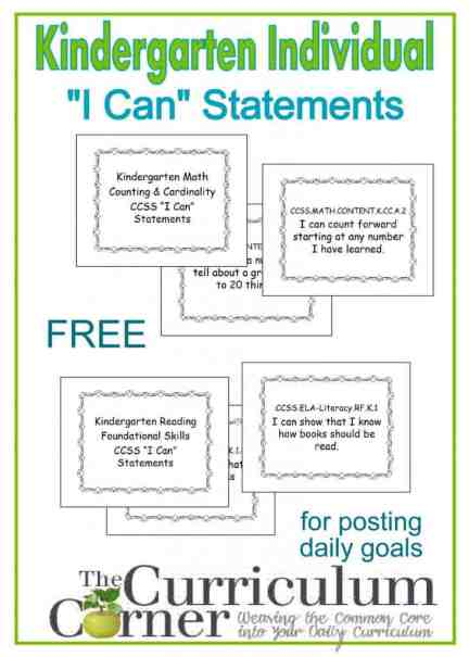 """Kindergarten """"I Can"""" Statements Individual Display Posters Free from The Curriculum Corner"""