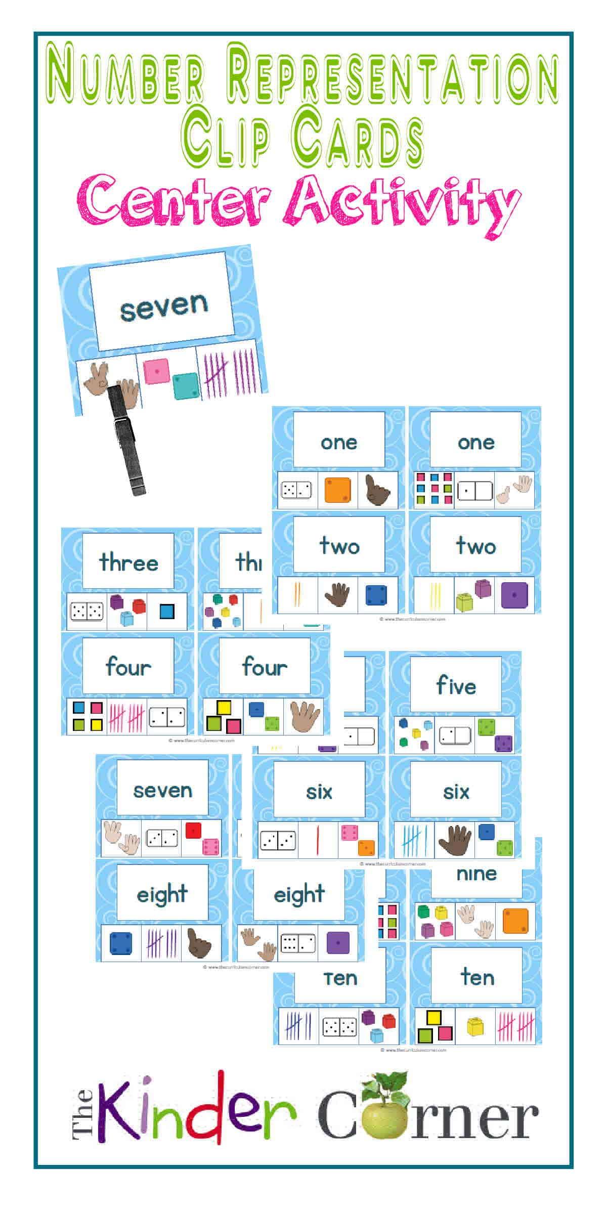 Number Representation Clip Cards