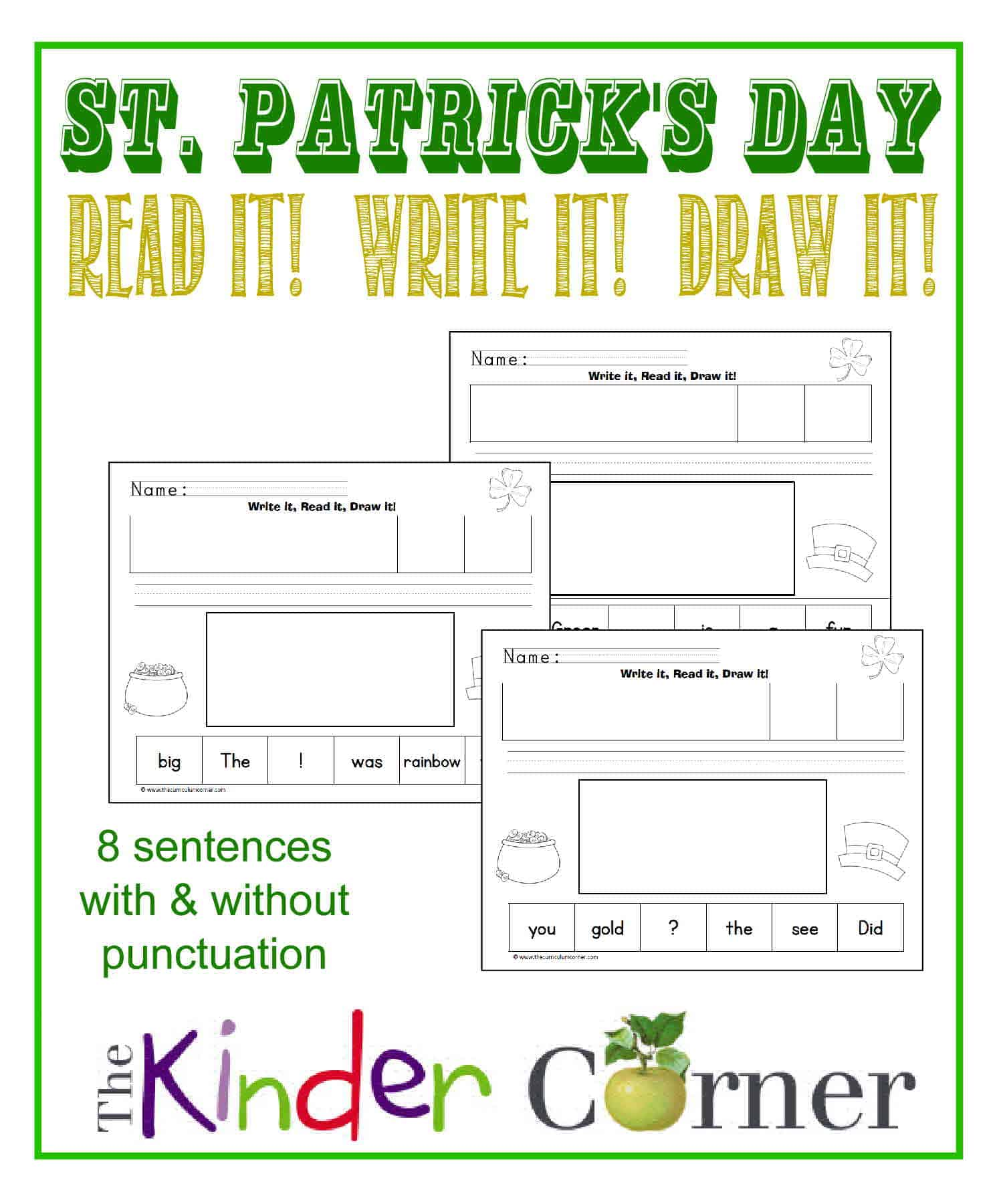 St Patrick S Day Write Read And Draw For Kindergarten