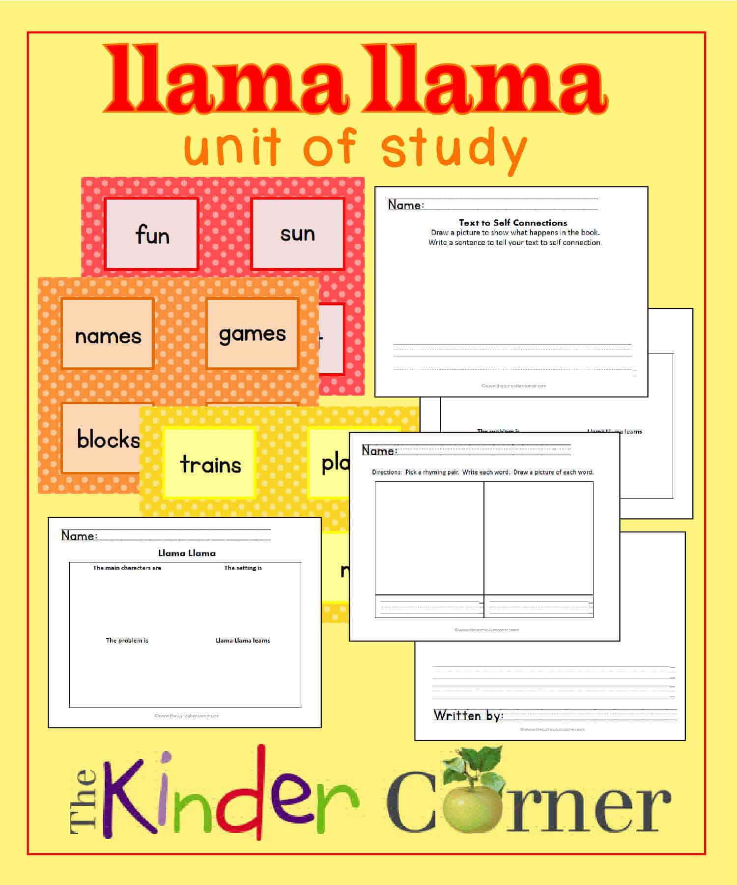 llama llama unit of study the kinder corner