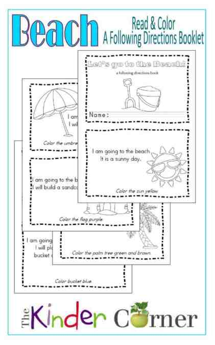 Beach Read & Color Booklet:  A following directions book free from The Curriculum Corner