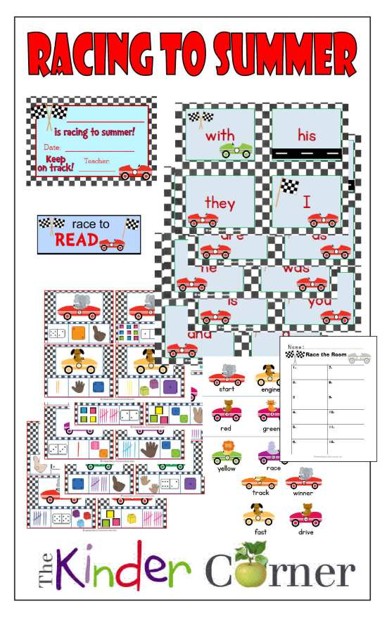 Racing into Summer includes Fry Word cards (1st 100), Write the Room, Number representation clip cards and more all FREE from The Curriculum Corner