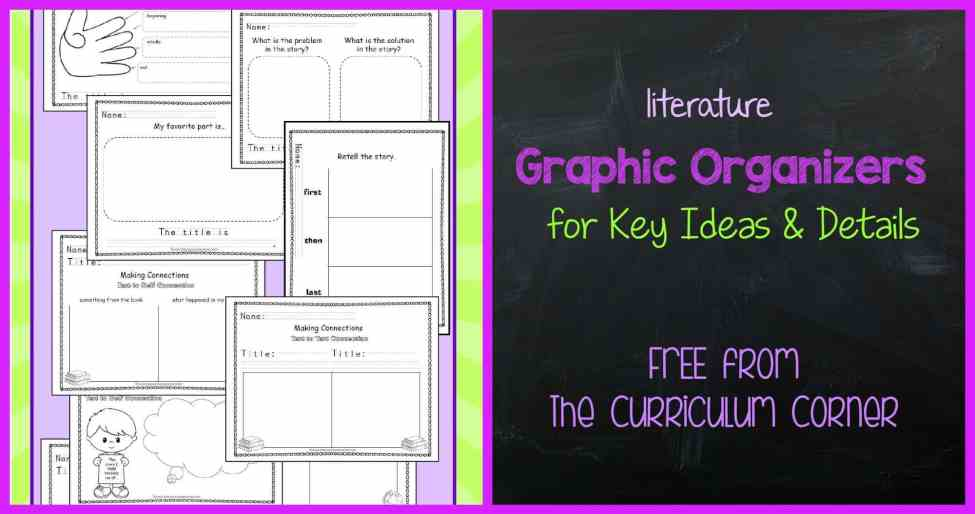 FREE Literature Graphic Organizers from The Curriculum Corner for reading workshop meets kindergarten standards