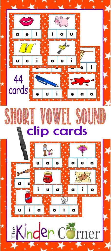 Middle Vowel Letter Sounds Clip Cards FREE from The Curriculum Corner for beginning readers