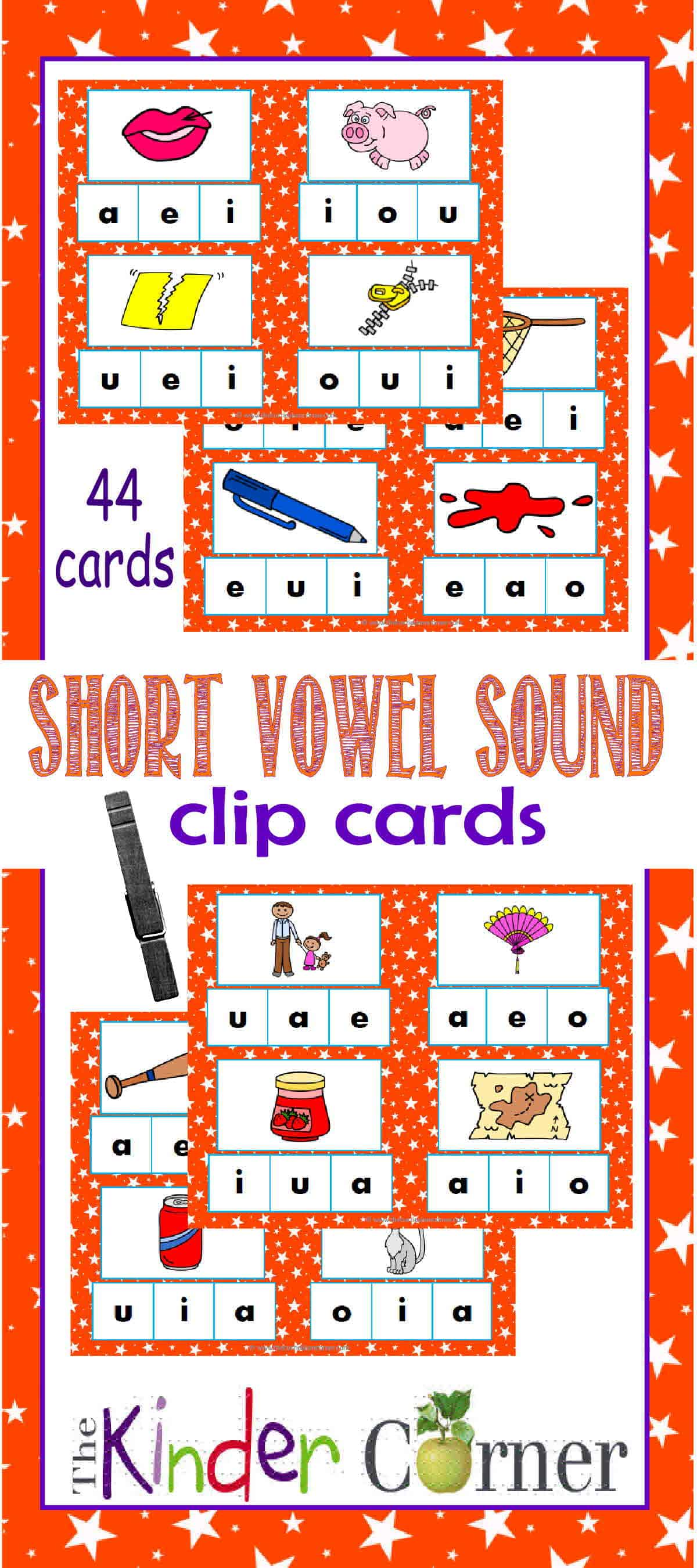Short Vowel Sound Clip Cards