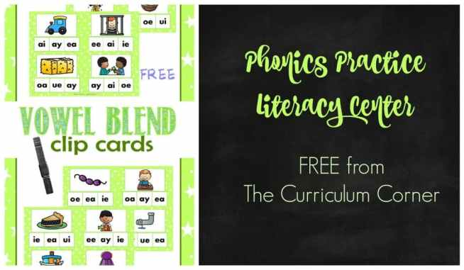 FREE! Vowel blend cards literacy center from The Curriculum Corner | Clip Cards