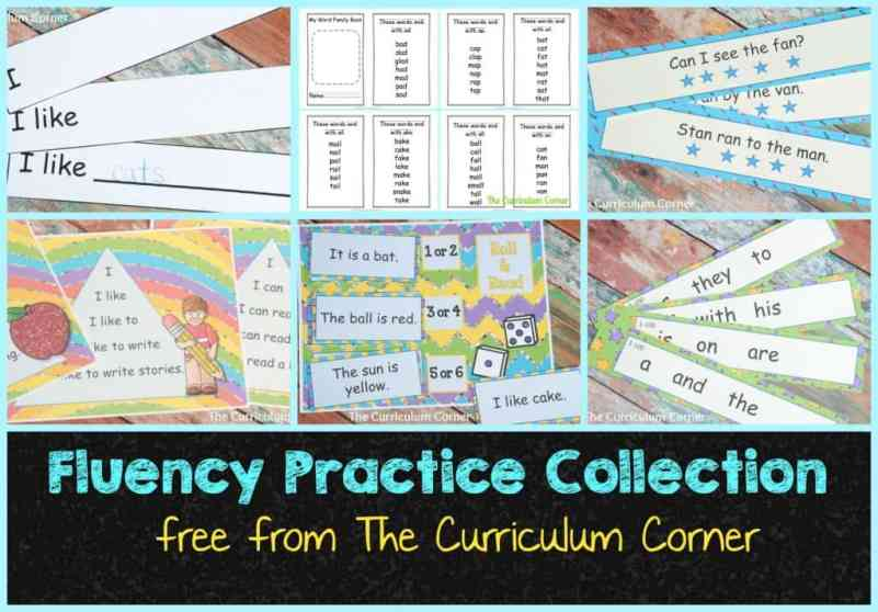 FREEBIE Fluency Practice Collection from The Curriculum Corner - tons of free printables!