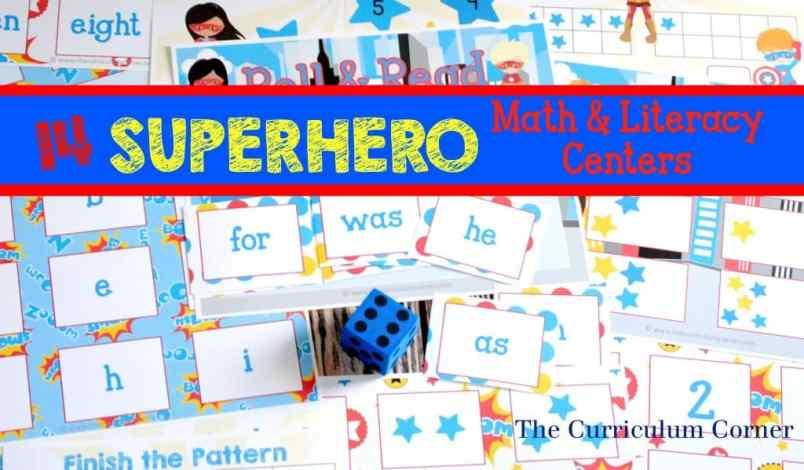 14 FREE Math & Literacy Superhero Centers from The Curriculum Corner