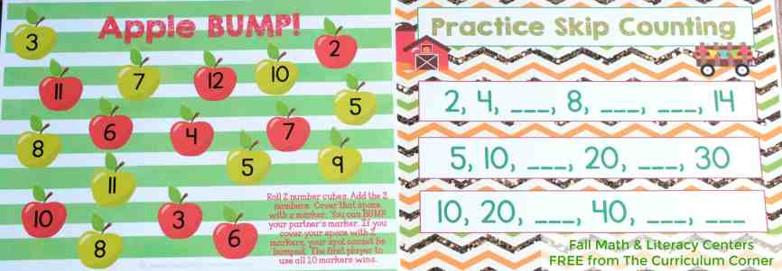 FREE Fall Math & Literacy Centers for Kindergarten & First Grade from The Curriculum Corner | Addition Bump, Skip Counting Mat & More!