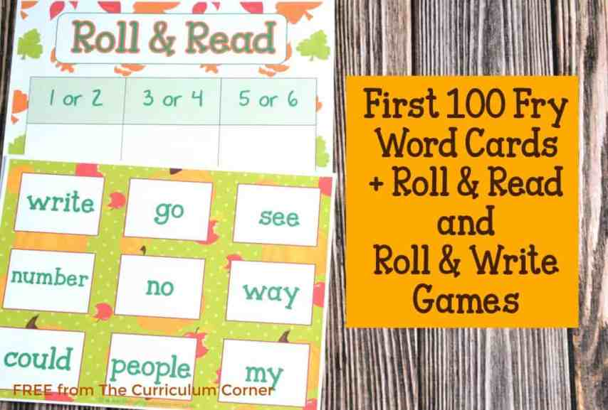 FREEBIE Fry Cards with Fall Math & Literacy Centers for Kindergarten & First Grade from The Curriculum Corner