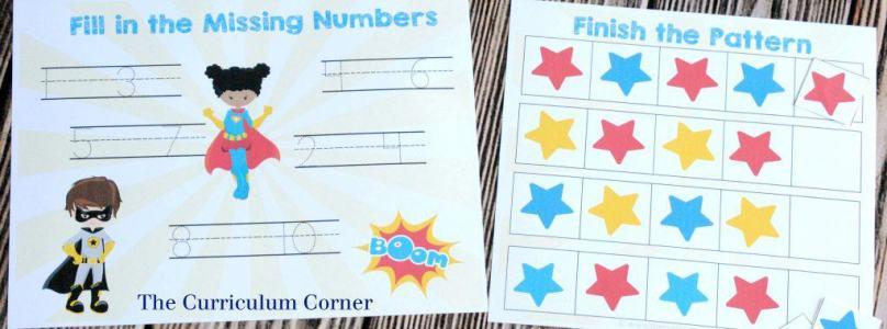 FREEBIE! 14 FREE Superhero Math & Literacy Centers from The Curriculum Corner   for kindergarten & 1st grade