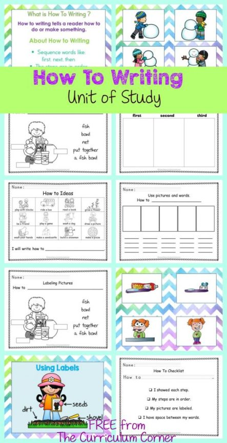 FREEBIE How To Writing Unit of Study from The Curriculum Corner | Anchor Charts Graphic Organizers & More