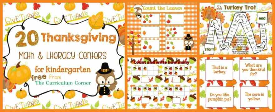 FREE Thanksgiving Centers for Math & Literacy from The Curriculum Corner | Fry Words | Math | Letters