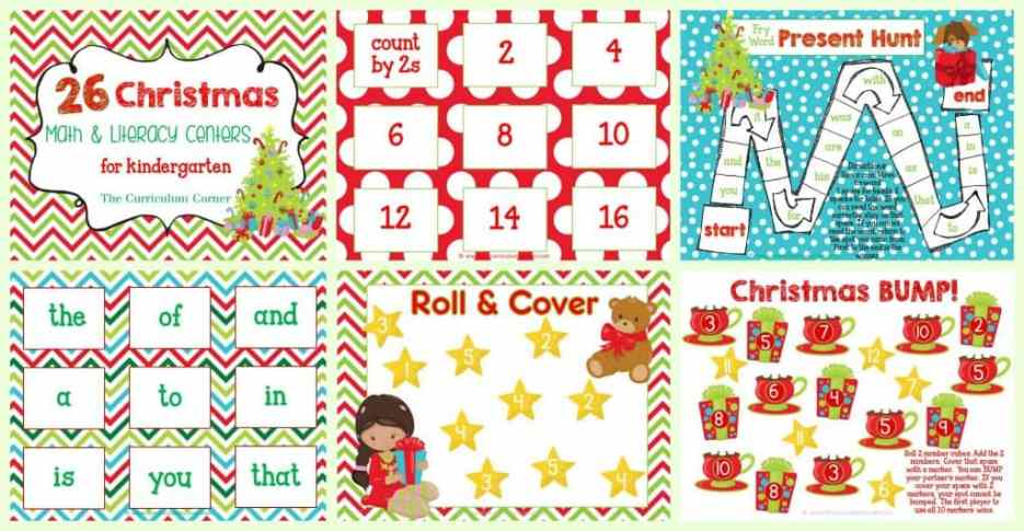 FREE Christmas Centers for Math & Literacy FREE from The Curriculum Corner | FREEBIE - 26 centers!
