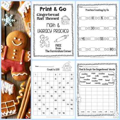 Gingerbread Print & Go Math and Literacy Practice